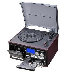 Wireless Stereo Record Player System Vintage Turntable AM/FM CD Cassette