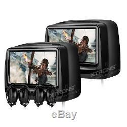 XTRONS 1 Pair 9 HD LCD Headrest Car CD DVD Player Monitor Wireless IR Headsets